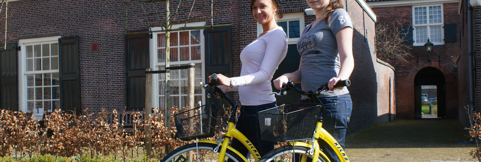 Our yellow kickbikes - Kickbike Puzzle Hunt 'Rolling though Delft' Gasterij 't Karrewiel